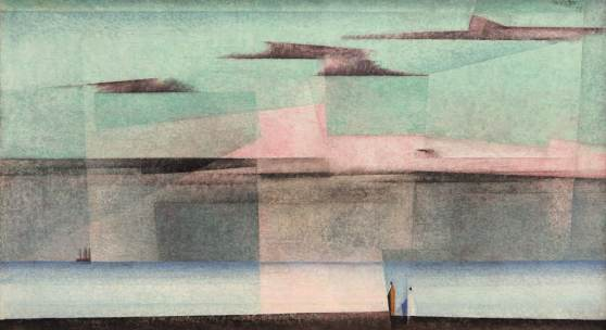LYONEL FEININGER (1871 - New York - 1956) Pink Could II, 1928 Oil on canvas, 17.3 x 30.7 in (44 x 78 cm) Signed upper right: Feininger 28 Catalogue raisonné by Hess no. 299