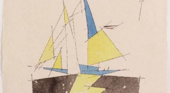 """Lyonel Feininger 1871 New York - 1956 New York - """"Kleiner Zweimastsegler"""" - Aquarell über Tuschfeder/Papier. 16,5 x 19 cm. Aufrufpreis:30.000 EUR Schätzpreis:45.000 EUR"""