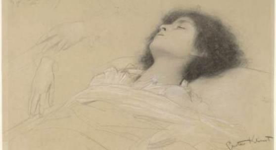 """Gustav Klimt Kopfstudie eines liegenden Mädchens, zwei Handstudien (Studien für das """"Theater Shakespeares"""" im Burgtheater), um 1887 Albertina, Wien"""