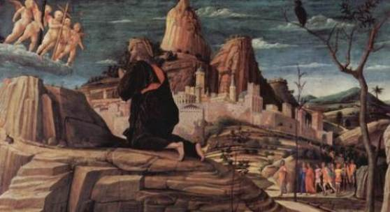 Andrea Mantegna: Christus am Ölberg im Garten Gethsemane, 1455, Tempera auf Holz. London, National Gallery. Land: Italien. Stil: Renaissance. Bild oben: Detail: Felslandschaft mit bergauflaufendem Hasen. Bildmaterial: www.onlinekunst.de