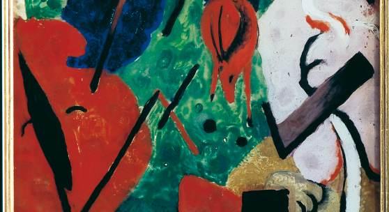 Franz Marc Landschaft mit Tieren und Regenbogen, 1909 Gouache auf Glas, Collage von Silberfolie  und Papieren Ankauf gefördert durch: Bayerische Landesstiftung, Bundesrepublik Deutschland, E.ON AG, Kulturstiftung der Länder, Ernst von Siemens Kunststiftung,  Wilhelm von Finck Stiftung, Wilhelm Winterstein