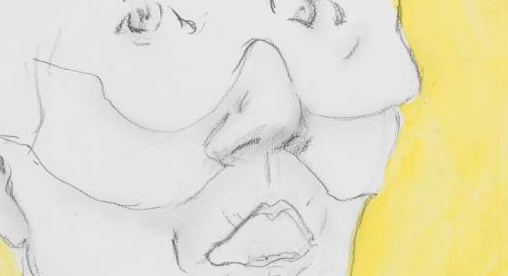 Maria Lassnig: Kunstpleite 1997, Bleistift und Acryl auf Papier, 41,8 x 29,5 cm © Bildrecht Wien, 2019