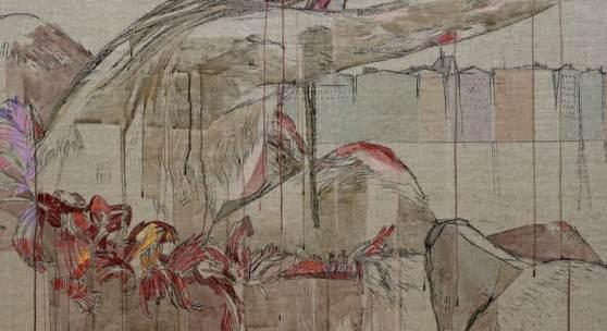 Maria Legat: Und zur Lage der Welt XXIX oder Das Fleisch darunter, Detail, 2018, Mischtechniken auf vorgeleimtem Leinen, © Maria Legat