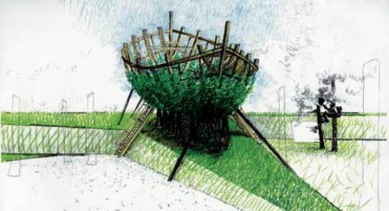 Mario Terzic, Arche aus lebenden Bäumen, 1998/2010-11  Skizze: Mario Terzic
