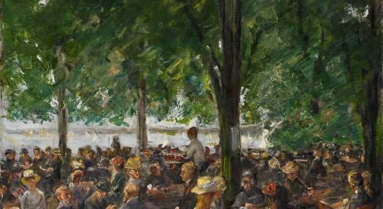Max Liebermann (1847 – 1935) Gartenlokal an der Havel unter Bäumen 1920 – 22 Öl auf Leinwand 54,5 x 75 cm Schätzpreis: 300.000 – 500.000 Euro Ehemals Sammlung Dagobert und Martha David