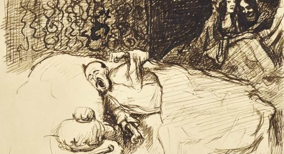 Max Slevogt, Scheherezade erzählt ihre Geschichte dem Kalifen, 1901, Federzeichnung Foto: Tom Gundelwein