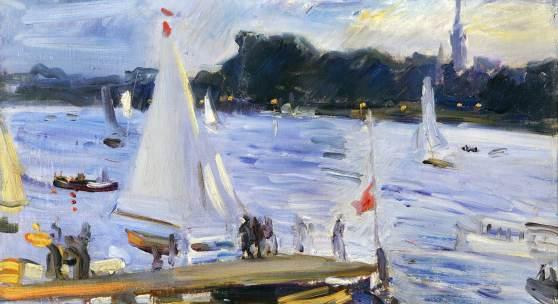 Max Slevogt, Segelboote auf der Alster am Abend, 1905, Staatliche Museen zu Berlin, Nationalgalerie, Foto: bpk / Nationalgalerie, SMB / Andres Kilger