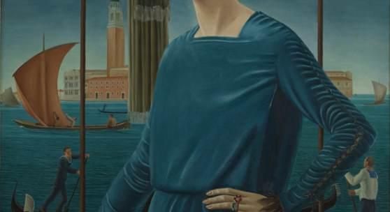 Ubaldo Oppi, Die Frau des Künstlers vor venezianischer Kulisse, 1921, Collezione Privata Roma, Foto: Carlo Baroni