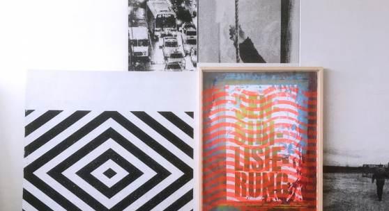"Michael Wegerer, ""Maze"", 2017/18, Assemblage, Siebdruck, Gipsplatten, Glas, Papier, 100x150cm, SerieMAze , (c) Michael Wegerer, Fotografin (c) Sabina Bundurus"