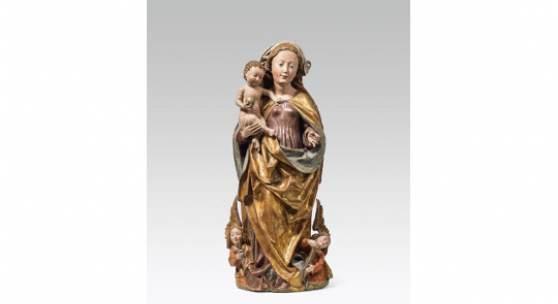 Michel Erhart Werkstatt Madonna mit Kind, Deutsch, um 1490 Schätzpreis:15.000 - 30.000 EUR Zuschlagspreis:100.000 EUR