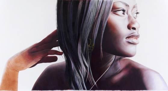 Michela Ghisetti: AFUA/DER WEG (Triptychon/Zweiter Teil), 2012  Farbstift auf Holz (ALBERTINA, Wien © Michela Ghisetti)