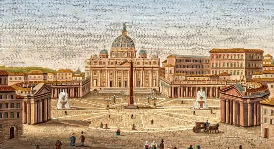 Großes Mikromosaik mit Ansicht des Petersplatzes Mosaik in schwarzem Marmor Rom  2. Hälfte 19. Jh. 29,5 x 39cm Schätzpreis: 10.000 - 12.000 Euro