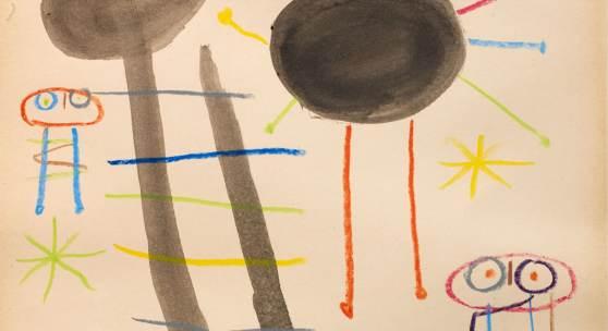 Miro Untitled 1957 cromped a ; Bildnachweis: Galerie Philippe David Zürich: Eine Papierarbeit von Joan Miró, entstanden 1956-57, Aquarell und Wachs-Stifte auf Papier, präsentiert auf der Antik & Kunst von der Galerie Philippe David aus Zürich.
