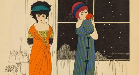 Paul Iribe, Illustration aus Les Robes des Paul Poiret, 1908, Radierung und Pochoirdruck, 31 x 27,7 cm, Foto: Museum für Kunst und Gewerbe Hamburg