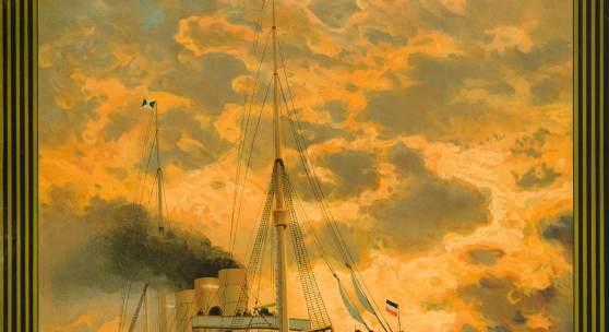 J. Aberle & Co. Hamburg-Amerika Linie. Hamburg New York. Doppelschrauben-Schnelldampfer Fürst Bismarck, 1891 Chromolithografie, 93,7 x 64,5 cm Museum für Kunst und Gewerbe Hamburg Public Domain