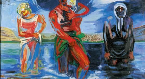 Karl Kluth (1898-1972) Die Furt (Meeresdeich/Nordschleswig) | The Ford (Marine Dike/Northern Schleswig), 1950 Öl auf Leinwand | oil on canvas, 100 x 140 cm © Vera Kluth