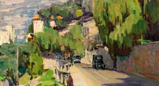 """Carl Moll (Wien 1861 – 1945 Wien)  """"Küstenstraße bei Rapallo""""  Öl auf Holz, 1928/29, monogrammiert  35,5 x 34 cm (c) Wikam"""