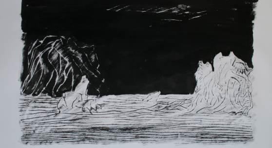 Peter Lang, Spytist Eimyrja, 2013, Tusche auf Bütten, 80x120 cm. Foto und Copyright Künstler