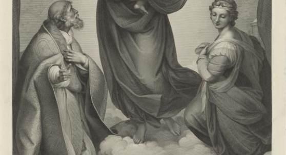 JOHANN FRIEDRICH WILHELM MÜLLER (1782–1816) NACH RAFFAEL, EIGENTLICH RAFFAELLO SANTI ODER SANZIO (1483–1520) Sixtinische Madonna, 1808–1816 Kupferstich und Radierung, 768 x 555 mm (Platte) © Hamburger Kunsthalle, Kupferstichkabinett / bpk Foto: Christoph Irrgang