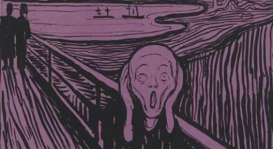 Bildnachweis: Edvard Munch, Geschrei, 1895, Lithographie auf violettem Papier,  Staatsgalerie Stuttgart, Graphische Sammlung, © The Munch Museum / The Munch Ellingsen Group / VG Bild-Kunst, Bonn 2012