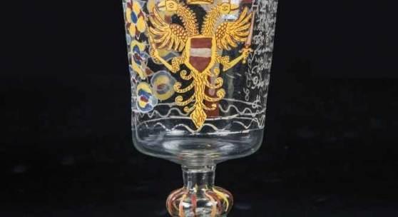 Musealer Pokal mit Kreuzigung Glashütte Im Äule, Schwarzwald, datiert 1728 Schätzpreis:4.000 - 5.000 EUR Zuschlagspreis:
