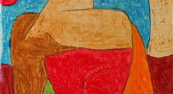museum global. Paul Klee: Eine Sammlung auf Reisen Paul Klee, Omphalo-centrischer Vortrag, 1939, Kreide und Kleisterfarbe auf Seide auf Jute, 70 x 50,5 cm, Kunstsammlung Nordrhein-Westfalen Foto: © Kunstsammlung NRW Auflösung: 1381px * 1935px