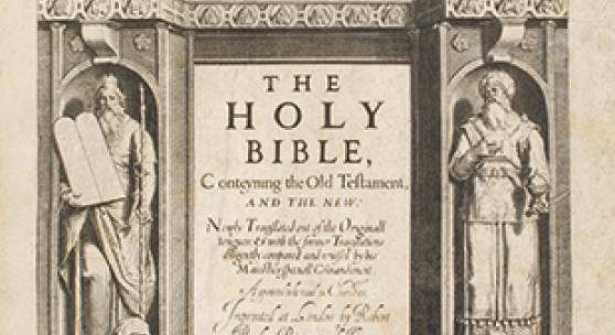 """The Holy Bible, conteyning the Old Testament, and the New. London: Robert Barker, 1611. The largest known copy of the first edition of the King James Bible, """"the only literary masterpiece ever to have been produced by a committee."""" Estimate $400/600,000"""