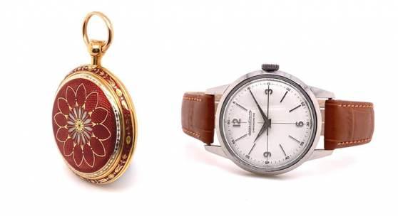"""Eine Goldemail Taschenuhr mit Repetition von Breguet (Lot Nr. 460) und ein seltenes Armbandchronometer """"Geophysic"""" von Jaeger-LeCoultre (Lot Nr. 461)."""