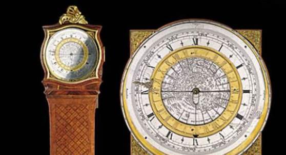 """Sogenannte """"Gutwein-Uhr""""  mit astronomisch-geographischem Werk und Äquation, um 1760"""