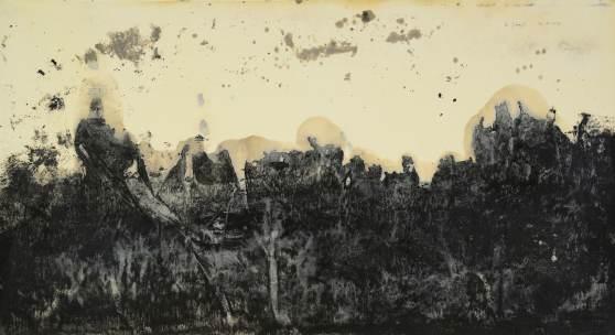 Norbert Pümpel o. T., (Unbestimmtes Land), 2017, Ölfarbe und Bitumen auf Wenzhou Papier, 69 x 130 cm