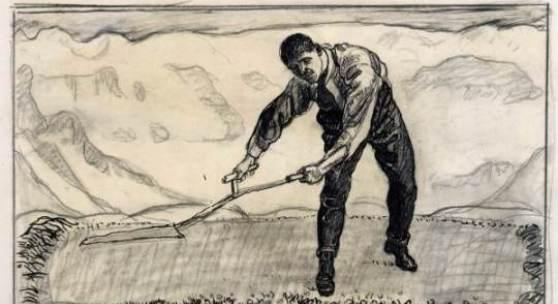Ferdinand Hodler (1854–1918) Mäher auf dem Felde, um 1909 Bleistift und Pinsel in Schwarz, 440 x 592 mm © Städel Museum, Frankfurt am Main 1910 erworben vom Frankfurter Kunstverein