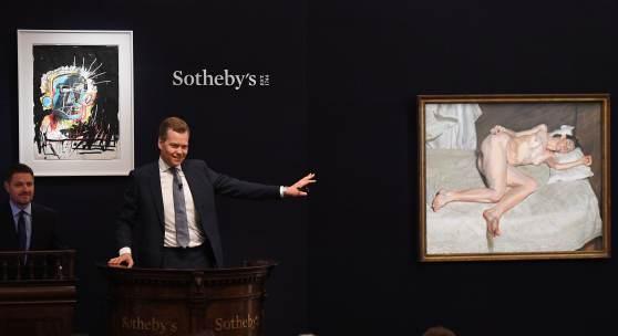 Oliver Barker fielding bids during Sotheby's Contemporary Art Evening Sale, June 2018