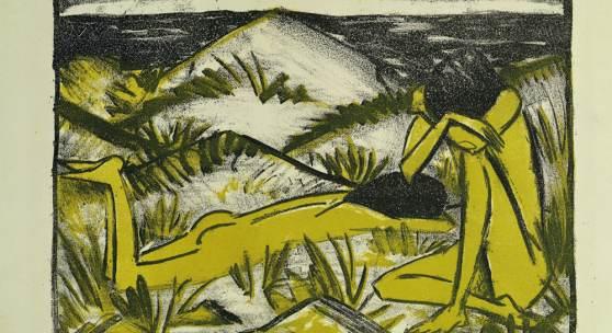 Otto Mueller Zwei Mädchen in den Dünen, Sylt, 1920 Farblithographie in Schwarz und Gelb 29 x 39 cm Brücke-Museum Berlin, Karl und Emy Schmidt-Rottluff Stiftung