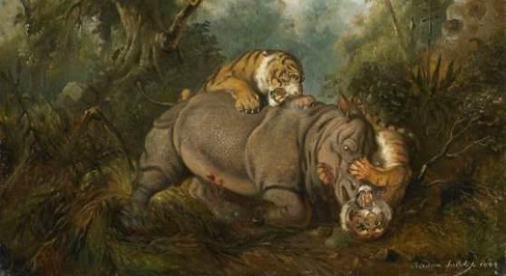 Raden Saleh Ben Jaggia  Kampf zwischen einem Rhinozeros und zwei Tigern | 1840 | Öl auf Leinwand | 48 x 60 cm  Ergebnis: 563.200 Euro