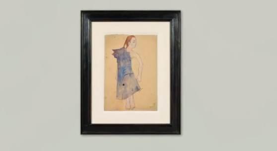 Oskar Kokoschka Mädchenakt mit umgehängtem Mantel, 1907 Bleistift und Aquarell auf Papier, 454 x 316 mm