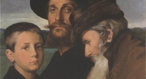 Ottilie W. Roederstein, Die drei Lebensalter, 1900 Tempera auf Pappe, 50 x 61 cm Von der Heydt-Museum Wuppertal, Foto © Antje Zeis-Loi, Medienzentrum, Wuppertal