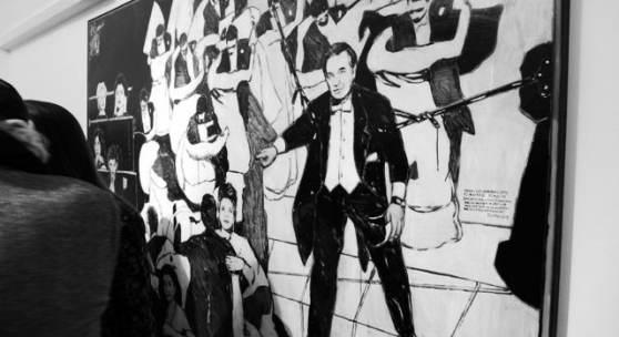 Peter Sengl, Hinweis zum Opernball, 2018, Mischtechnik auf Leinwand, 170 x 240 cm (c) findART.cc Foto frei von Rechten.