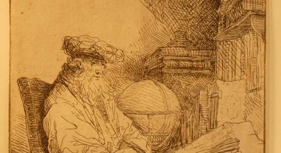 """Kupferstich des Rembrandtschüler Ferdinand Bol   """" Der Astronom """""""