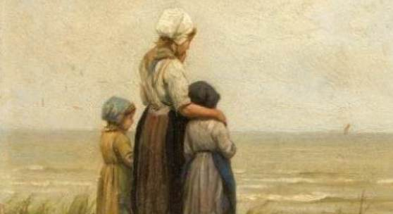 Philip Sadée (183-1904), Den Haager Maler, lernte zunächst bei J.E.J. van den Berg und begann mit Historienstücken, nach seinem Studium in Düsseldorf verlagerte er sich auf Rat Albert Kindlers auf Genrestücke aus dem Fischerleben sowie Stadtansichten, drei Kinder stehen auf einer Düne und blicken auf das Meer hinaus. Limit: 1.800,- EUR