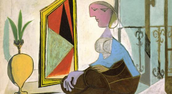 Pablo Picasso, Femme au miroir (Femme accroupie), 1937, (Frau vor dem Spiegel (Kauernde Frau), Öl auf Leinwand, 129,8 x 194,7 cm, Kunstsammlung Nordrhein-Westfalen, Düsseldorf, © Succession Picasso / VG Bild-Kunst, Bonn 2021, Foto: Walter Klein, Düsseldorf