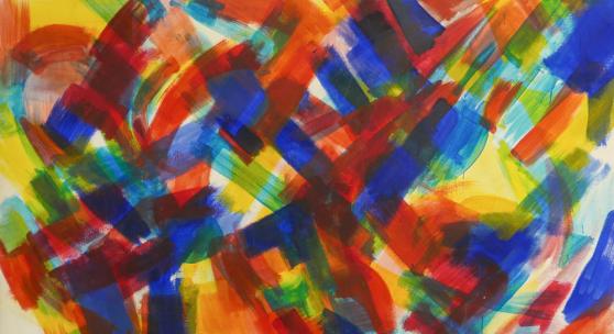 Peter Schmiedel: Nr. 10, Tempera auf Leinwand, 1959, 155 x 220 cm