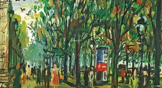 Hans Robert Pippal Wien – Ringstraße Öl auf Platte signiert, bezeichnet und datiert 1967 40 x 53 cm