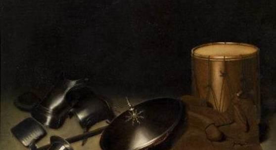 """Dou, Gerrit Leiden 1612 - 1675  Stillleben mit Rüstungen, Schild, Hellebarde, Schwert, Lederjacke und Trommel. Öl auf Holz. 31,7 x 46,5cm. Rahmen. Provenienz: Privatsammlung Baden-Württemberg seit 2003.  Das Gemälde ist in der Datenbank des RKD, Den Haag unter der Artwork-Nummer 114826 verzeichnet und wird dort als """"In der Art des / Umkreis Gerrit Dou"""" geführt.  Gutachten: Prof. Dr. Werner Sumowski vom 17. Juni 2003:"""