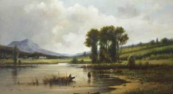 Chwala, Adolf (1836 Prag - 1900 Wien) Sommerlandschaft mit Seeufer, an diesem ein Angler und Kühe. Öl auf Holz, parkettiert. 36 x 44 cm. Rechts unten signiert. Gerahmt.