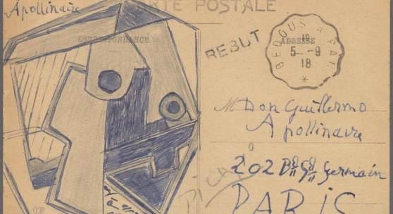 ((Bild Picasso-PK_Zeichnung; Bildnachweis: Auktionshaus Gärtner)): Aufmunterungsgruß des Meisters an den kranken Freund: Pablo Picasso fertigte auf einer Ansichtskarte diese kubistische Zeichnung an, um seinem Freund Guillaume Apollinaire gute Besserung zu wünschen.