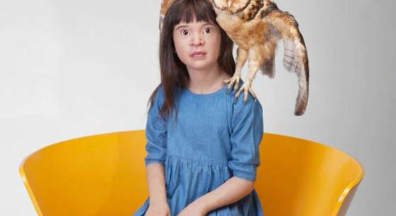 Patricia Piccinini, Unfurled, 2017, Silicone, fibreglass, human hair, masked owl, found objects, 108x89x80 cm, Courtesy the artist and A3 Arndt Art Agency