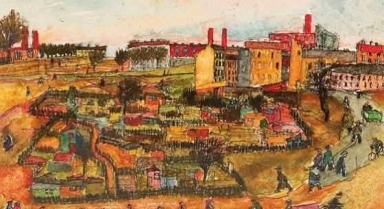 Wilhelm Jaruska  Arbeitsbeginn, 1938  Mischtechnik/Papier 21,5 x 32 cm  signiert W. Jaruska, datiert 1938 auf Karton beschriftet der Morgen - Arbeitsbeginn - Ottakring 16.,  abgebildet in Wilhelm Jaruska 2020, S. 7, Nr. 16