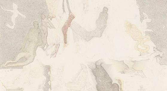 Felix Waske  Nr. 395  Bleistift und Buntstift/Papier 21,5 x 30,8 cm  signiert Felix Waske, datiert 1988 beschriftet Felix Waske Wien 1988, Nr. 345. Abgebildet in Felix Waske Zeichnungen 1967-1992,Wilhelm-Hack-Museum 1993, S.95  Preis: € 1.900,-