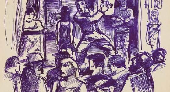 Karl Hauk  Ausrufer im Prater, 1928  Tusche/Papier 30 x 40 cm  monogrammiert HK, datiert 28 abgebildet in der Monographie Karl Hauk 2008, S. 96, in Karl Hauk 2016, S. 106 sowie im Kat. Hagenbund, Widder 2019, S. 24, Nr. 53 Preis: € 3.600,-
