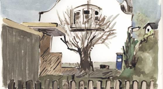 Plakat der Ausstellung, Aquarellierte Zeichnungen von Holger Jörn.